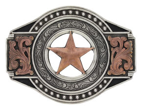 Two Tone Open Texas Ranger Star Attitude Buckle, Silver, hi-res