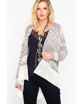 Bits of Beauty Women's Pointelle Crochet Cardigan, Taupe, hi-res