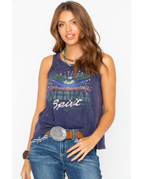 Shyanne Women's American Spirit Graphic Lace Up Tank , Navy, hi-res