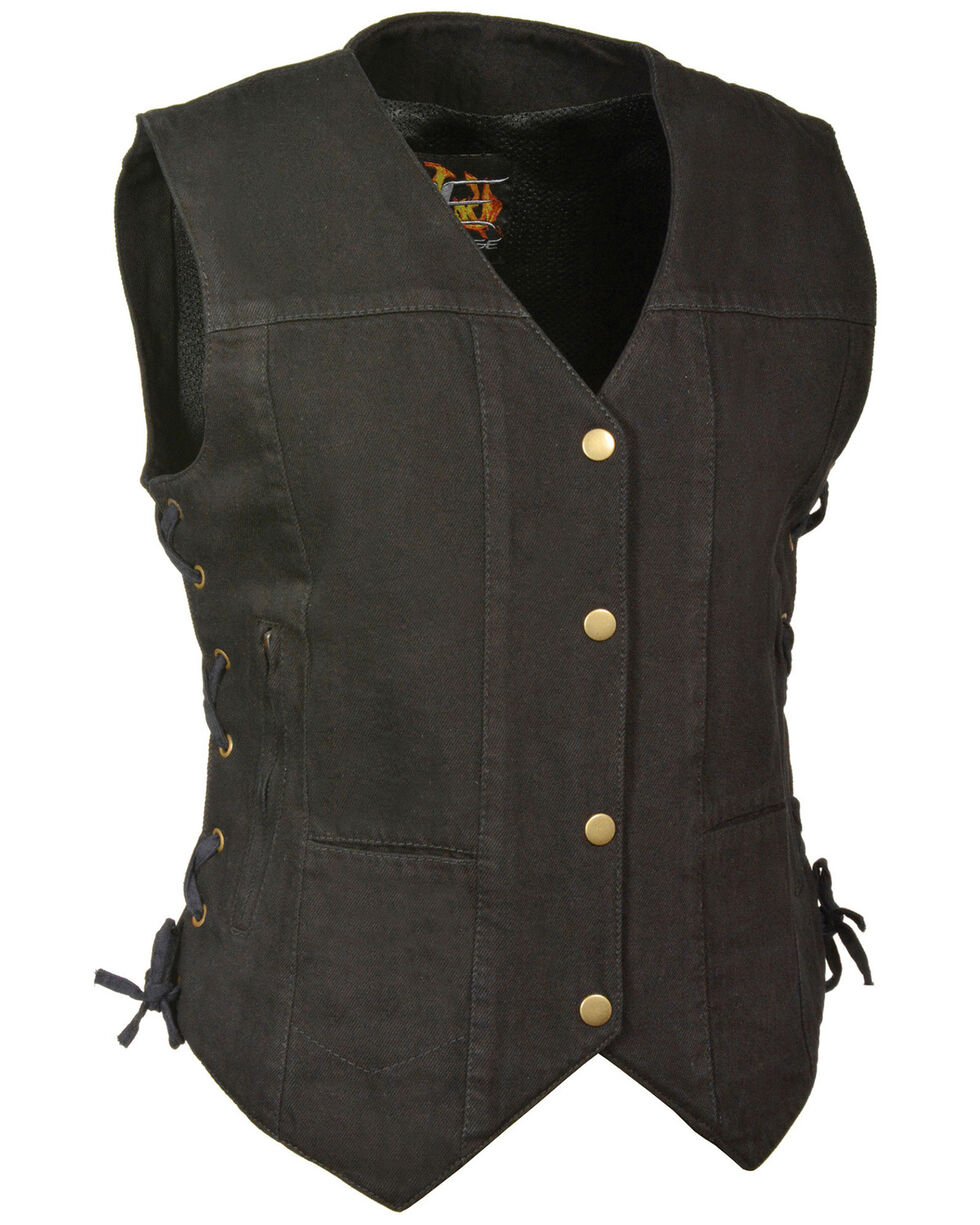 Milwaukee Leather Women's 6 Pocket Side Lace Denim Vest - 3X/4X, Black, hi-res