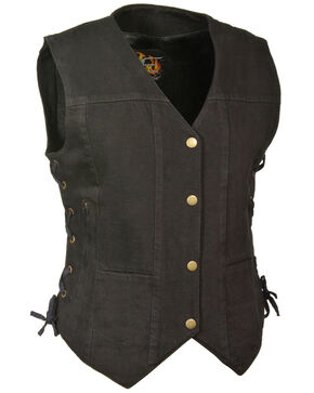 Milwaukee Leather Women's 6 Pocket Side Lace Denim Vest - 5X, Black, hi-res