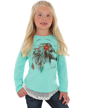 Wrangler Girls' Feather Horse Print Lace Bottom Shirt , Light Green, hi-res