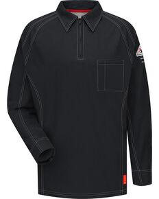 Bulwark Men's Black iQ Series Flame Resistant Long Sleeve Polo - Big & Tall, Black, hi-res