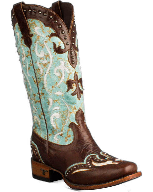 Lane Turquoise Lasso Cowgirl Boots - Snip Toe , Turquoise, hi-res