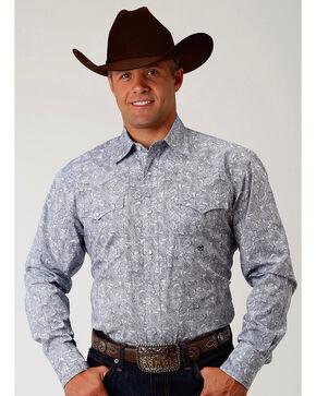 Roper Men's Navy Paisley Long Sleeve Western Snap Shirt, Navy, hi-res