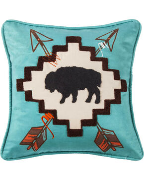 HiEnd Accents Turquoise Large Buffalo Print Pillow , Turquoise, hi-res