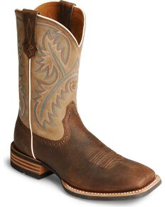 "Ariat Men's Quickdraw 11"" Western Boots - Square Toe, Bark, hi-res"