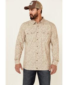 Moonshine Spirit Men's Buffalo Hunt Aztec Print Long Sleeve Snap Western Shirt , Tan, hi-res