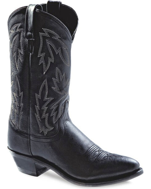 Old West Women's Polanil Western Cowboy Boots - Round Toe, Black, hi-res