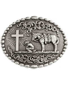 Nocona Cowboy Prayer Belt Buckle, Silver, hi-res