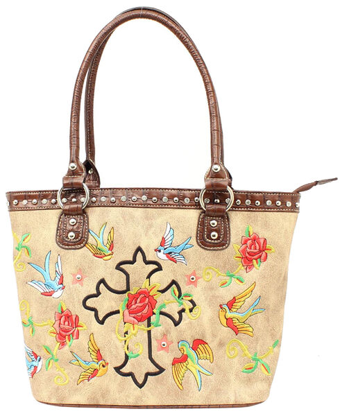 Blazin Roxx Cross & Rose Embroidered Tote Bag, Tan, hi-res