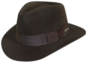 Indiana Jones Men's Brown Wool Felt Fedora Hat, Brown, hi-res