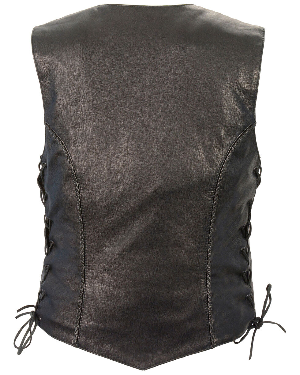Milwaukee Leather Women's Braided Side Lace Lightweight Snap Front Vest - 3X, Black, hi-res