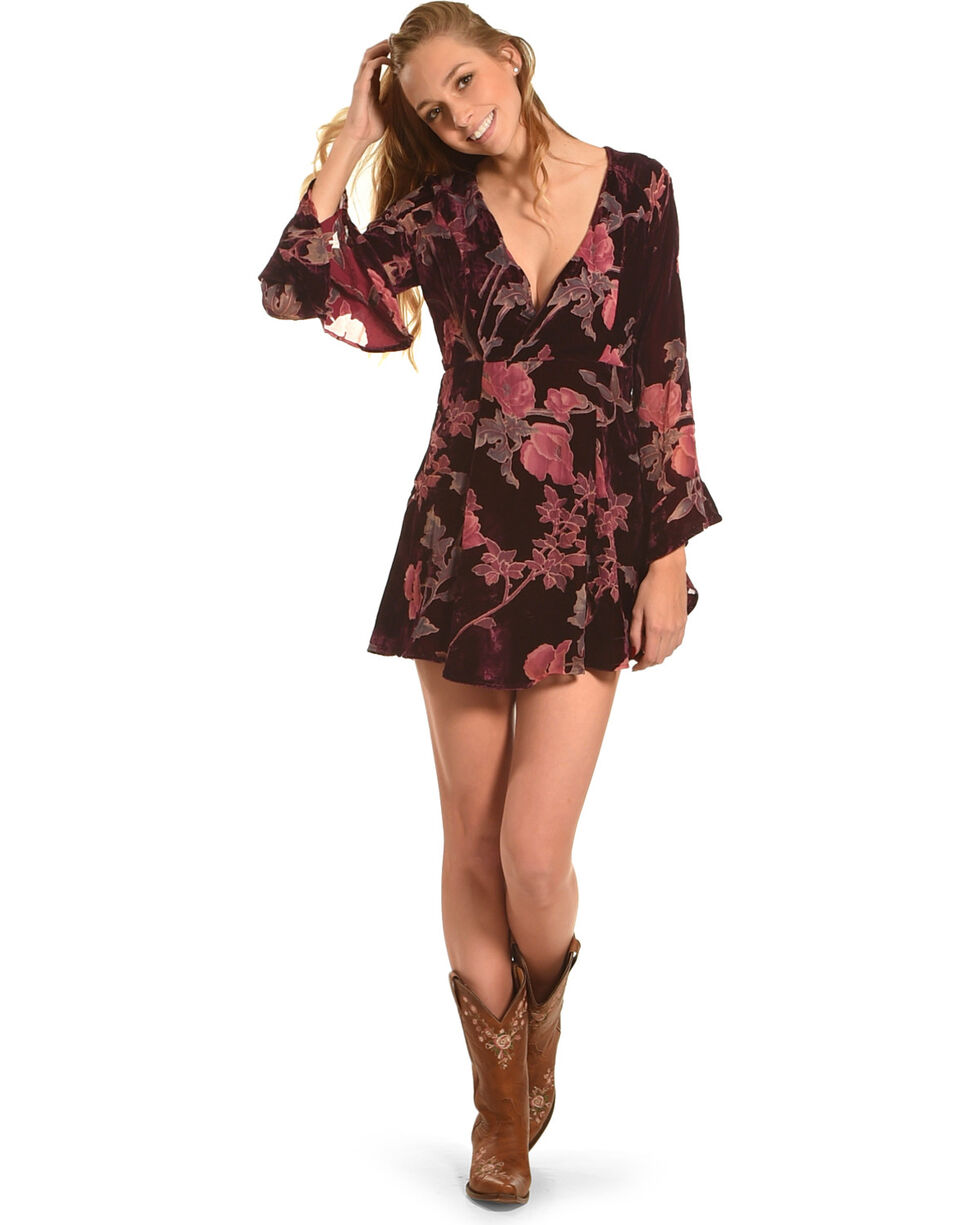 Shyanne Women's Floral Long Sleeve Velvet Jacquard Dress, Purple, hi-res
