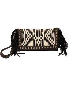 Blazin Roxx Aztec Fringe Clutch Wallet, Blk/white, hi-res