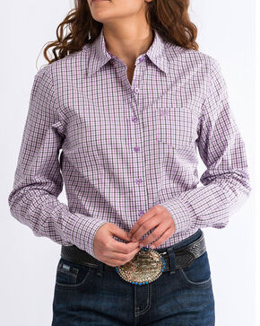 Cinch Women's Western Core Multi-Plaid Long Sleeve Button Down Shirt, Wine, hi-res