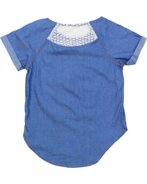 Self Esteem Girls' Denim Shirt Floral Leggings and Fringe Bag Set, Dark Blue, hi-res