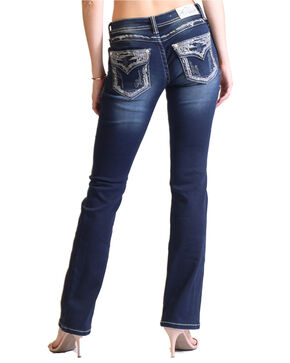Grace in LA Women's Dark Wash Embroidered Flap Pocket Boot Cut Jeans, Indigo, hi-res