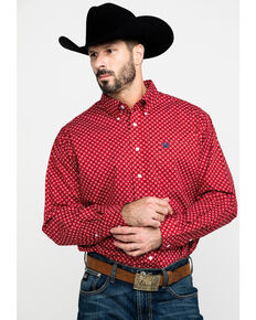 Cinch Men's Red Mini Square Geo Print Long Sleeve Western Shirt , Red, hi-res