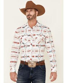 Rock & Roll Denim Men's White Aztec Print Long Sleeve Snap Western Shirt , White, hi-res