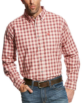 Ariat Men's Red FR Lundy Plaid Work Shirt , Multi, hi-res