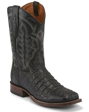 Tony Lama Men's Black Hornback Caiman Boots - Square Toe , Cognac, hi-res