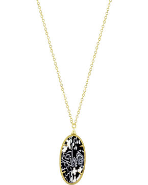 Jilzarah Black & White Gold Frame Pendant Necklace, Blk/white, hi-res