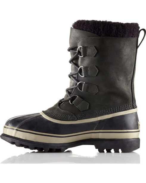 Sorel Men's Black Caribou Waterproof Boots - Round Toe , Black, hi-res