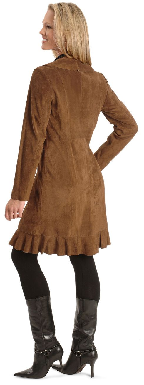 Scully Ruffle Suede Leather Long Jacket, Brown, hi-res