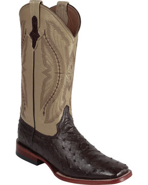 Ferrini Full Quill Ostrich Cowboy Boots - Wide Square Toe, Chocolate, hi-res