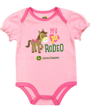John Deere Infant Girls' Pink My 1st Rodeo Onesie , Pink, hi-res