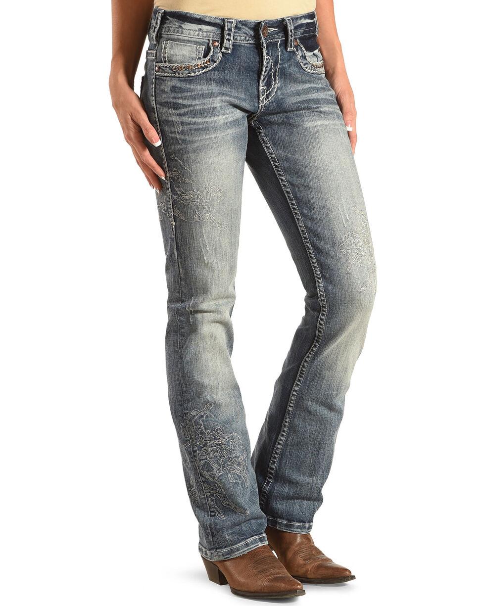 Cowgirl Tuff Women's Blue Buckin' Horse Jeans - Boot Cut , Blue, hi-res