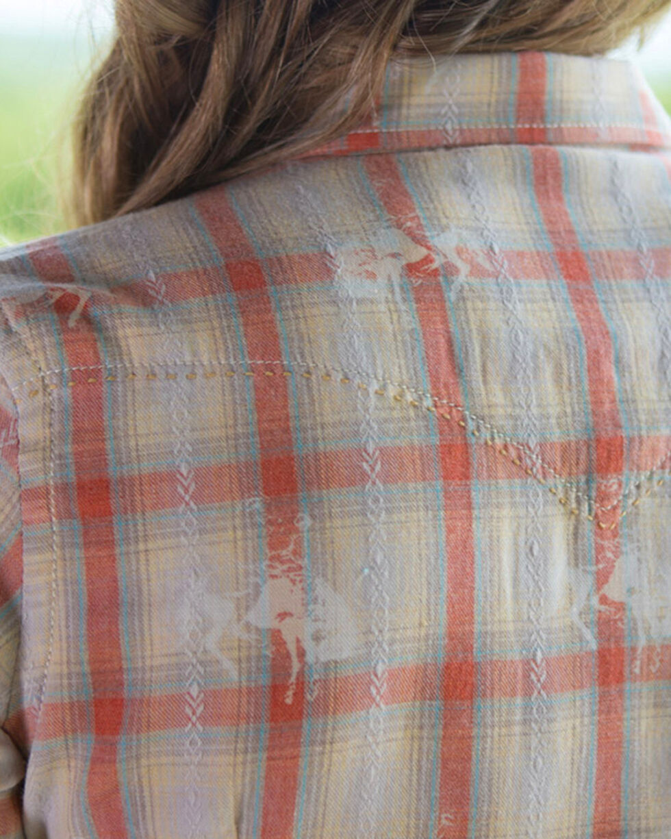 Ryan Michael Women's Campfire Bucking Horse Plaid Long Sleeve Shirt, Coral, hi-res