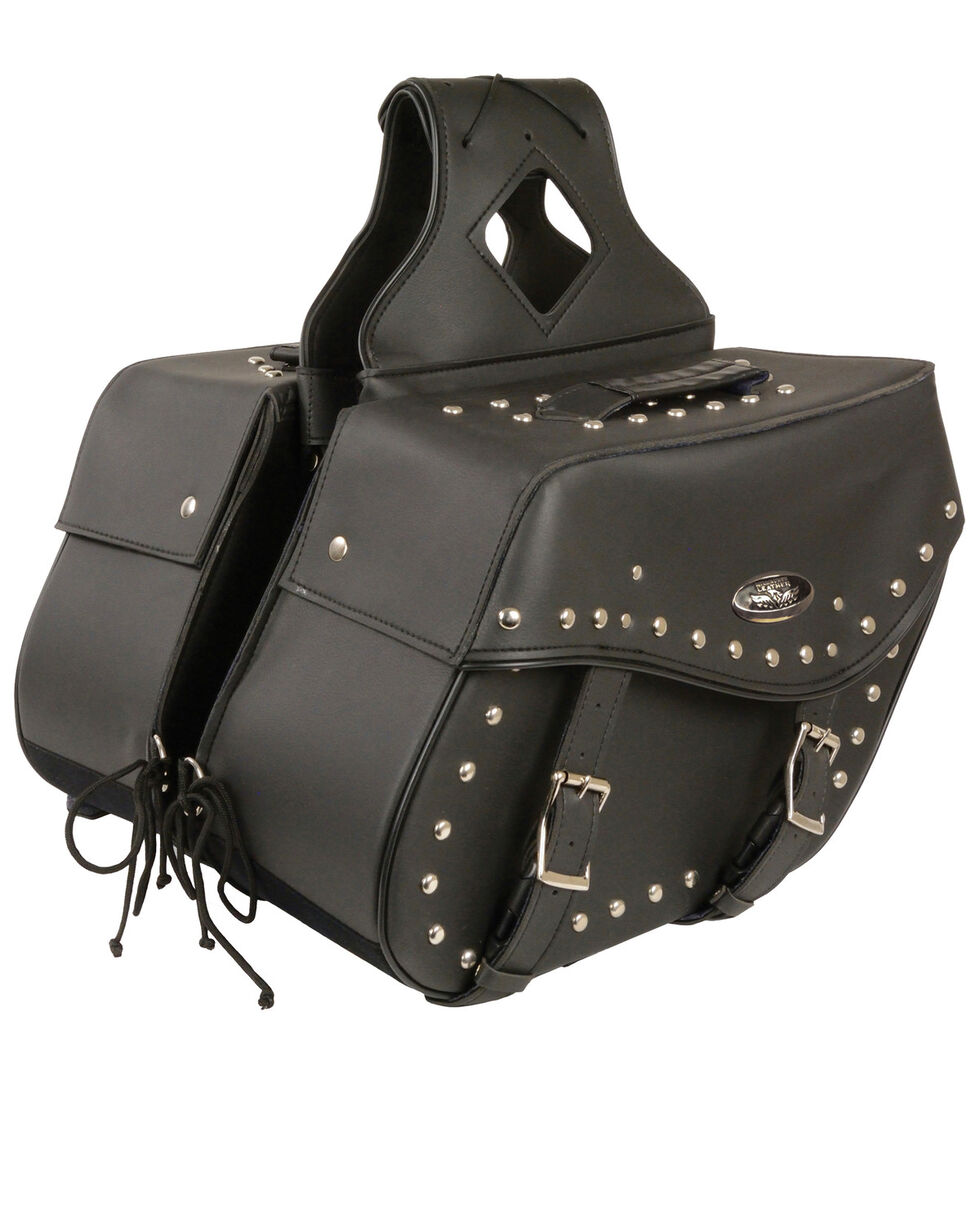 Milwaukee Leather Large Zip-Off Studded Throw Over Saddle Bag, Black, hi-res