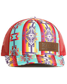 Rock & Roll Cowboy Men's Bright Aztec Print Mesh Cap, Dark Red, hi-res