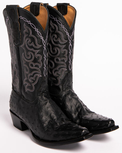 Shyanne Women's Black Full Quill Ostrich Exotic Boots - Snip Toe , Black, hi-res