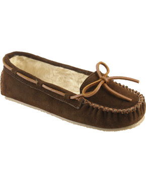 Minnetonka Cally Lined Slipper Moccasins, Chocolate, hi-res
