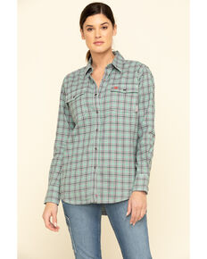 Ariat Women's Pearl Blue FR Eberly Snap Long Sleeve Work Shirt, Blue, hi-res