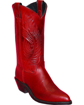 Abilene Red Western Cowgirl Boots - Round Toe , Red, hi-res