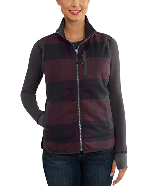Carhartt Women's Black Amoret Flannel Lined Vest , , hi-res