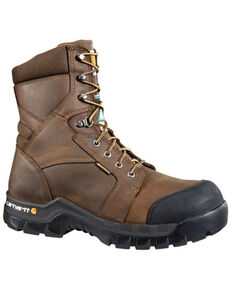 "Carhartt Men's 8"" Rugged Flex Waterproof Insulated Composite Toe Work Boots - Composite Toe, Brown, hi-res"