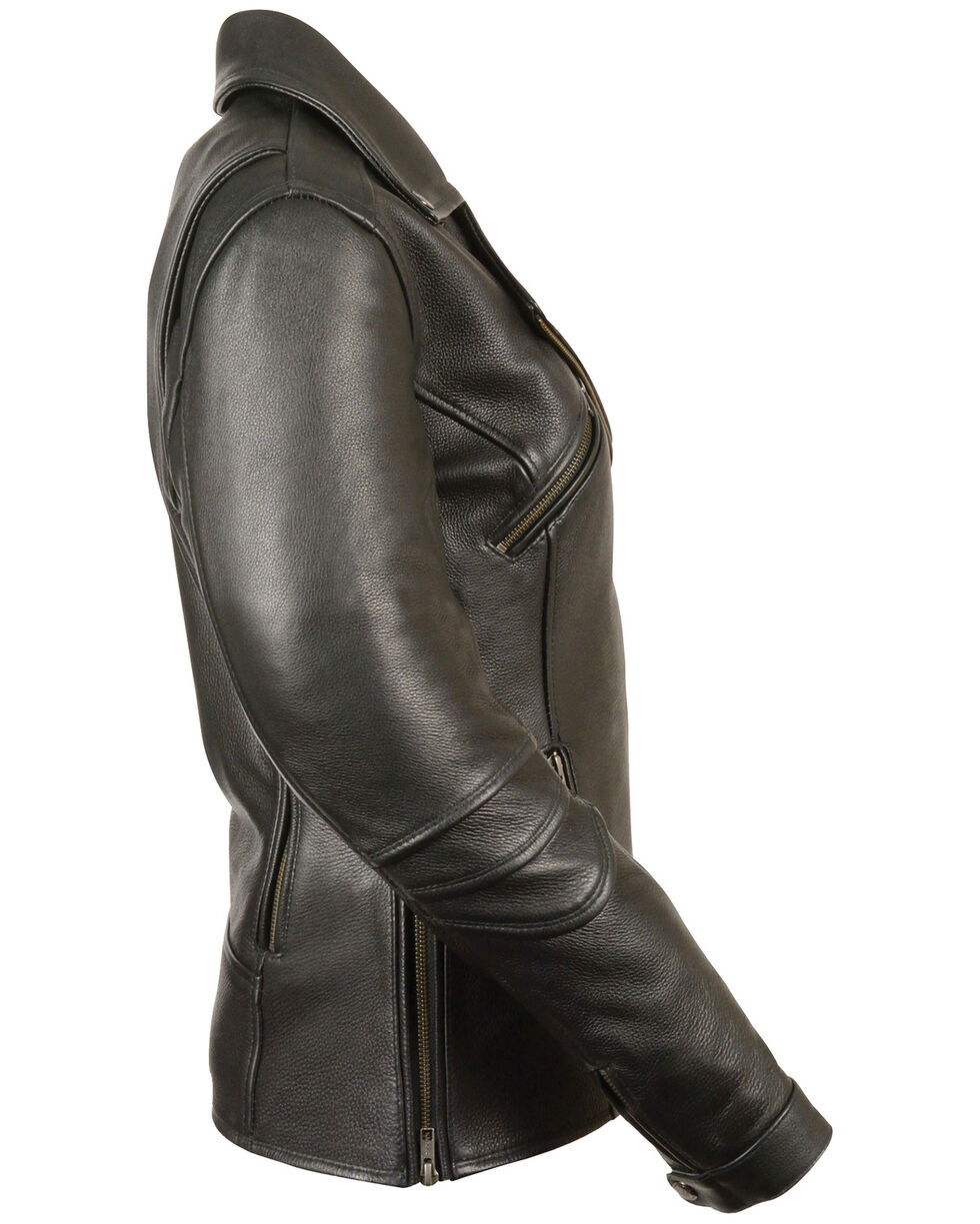 Milwaukee Leather Women's Long Length Vented Biker Jacket - 4X, Black, hi-res