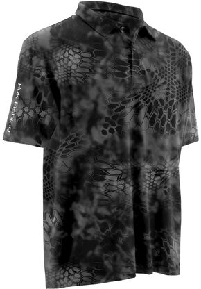 Huk Fishing Performance Kryptek ICON Polo , Charcoal Grey, hi-res