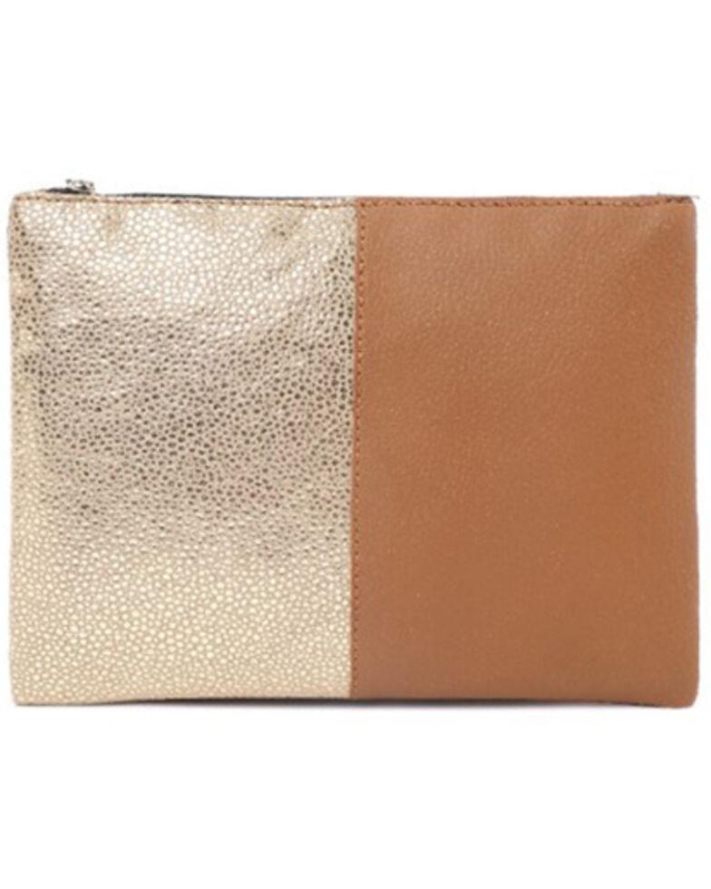 Prime Time Women's Gold Metallic Brown Pouch Bag, Brown, hi-res