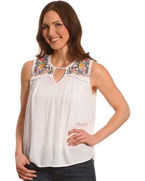 Derek Heart Women's White Crinkle Gauze Embroidered Tank , White, hi-res