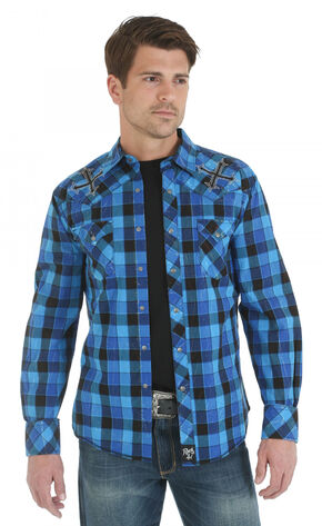 Wrangler Rock 47 Embroidered Blue and Black Plaid Long Sleeve Shirt, Blue, hi-res