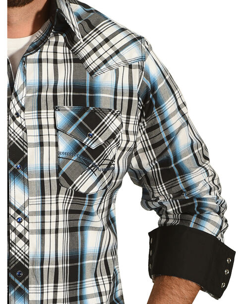 Ely 1878 Men's Turquoise Plaid Contrast Stitching Western Shirt, White, hi-res