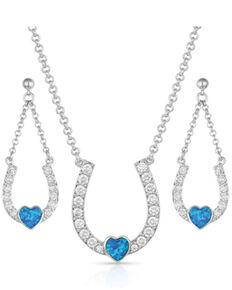 Montana Silversmiths Women's Lucky In Love Heart-Horseshoe Jewelry Set, Silver, hi-res