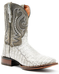 Dan Post Men's Charcoal Exotic Caiman Belly Western Boots - Wide Square Toe, Cream, hi-res