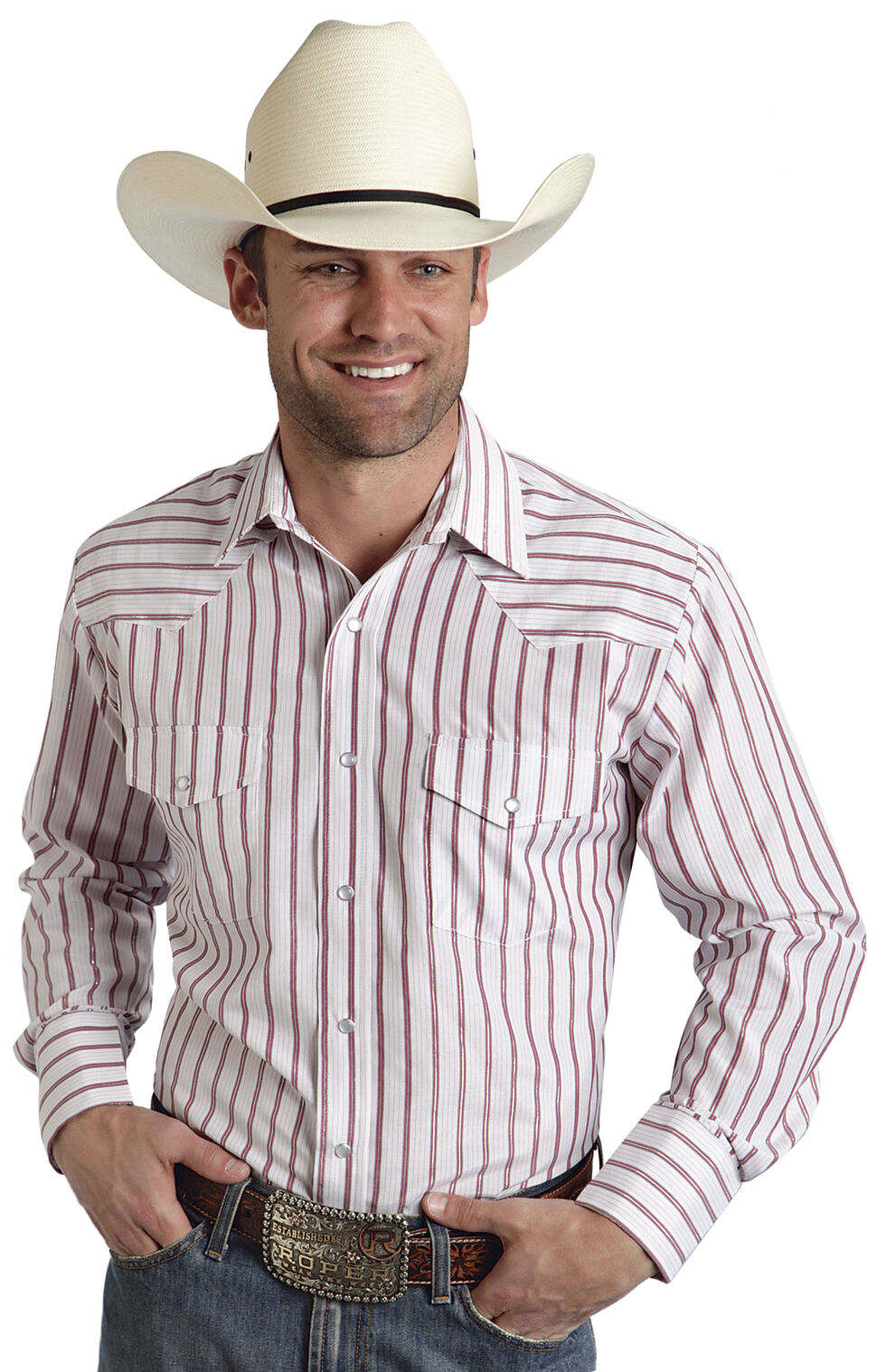 Roper Men's Red Striped Western Shirt, White, hi-res